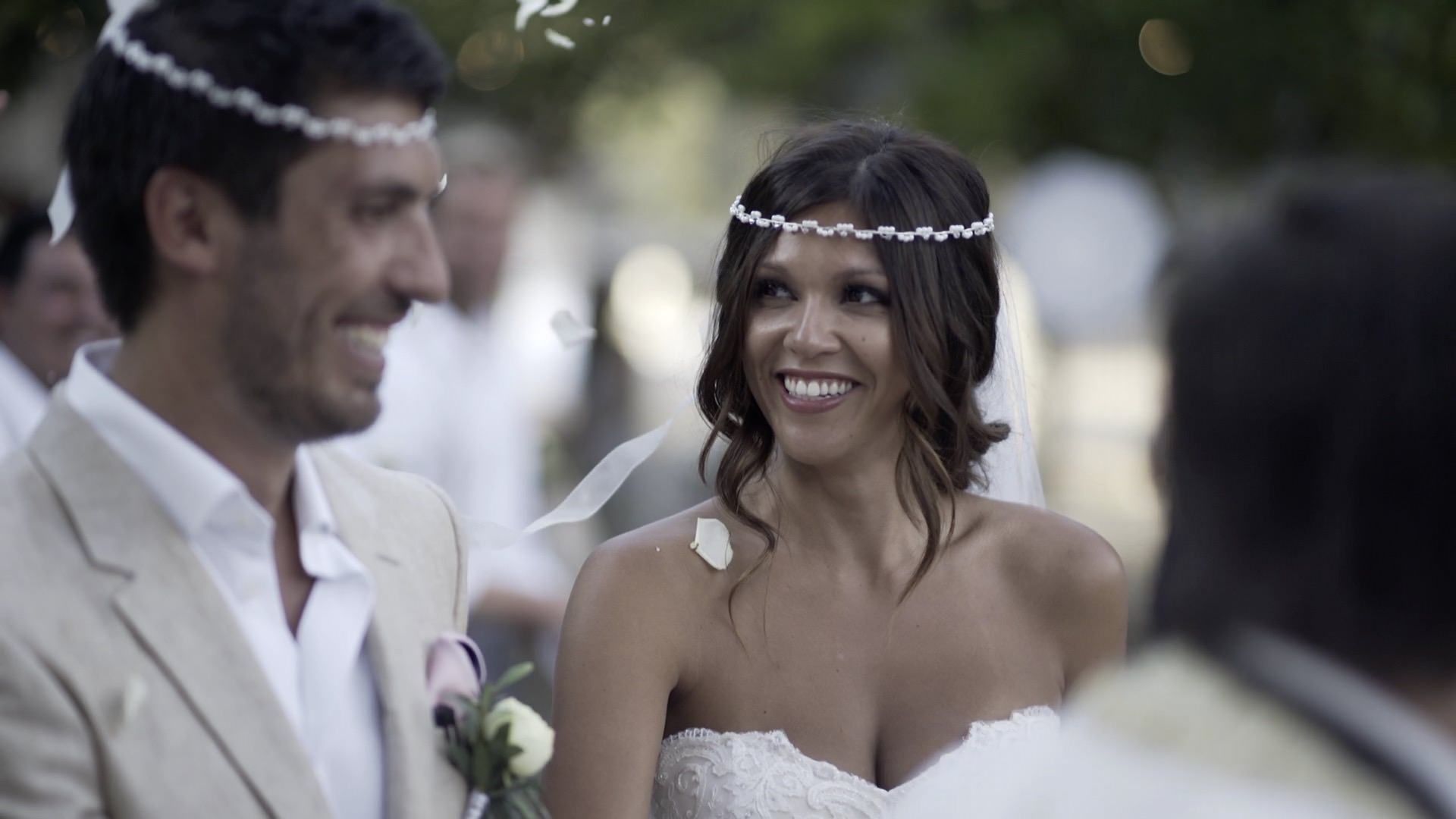 a bride and groom during their Greek Wedding by Crete Wedding Videographer Philip White