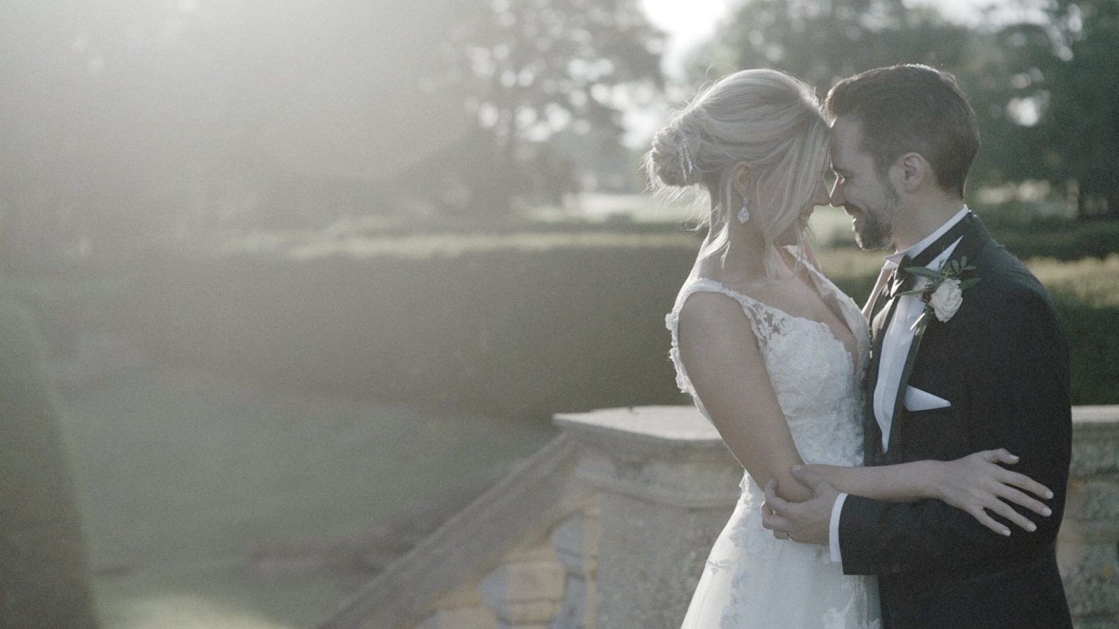a bride and groom at their rushton Hall wedding