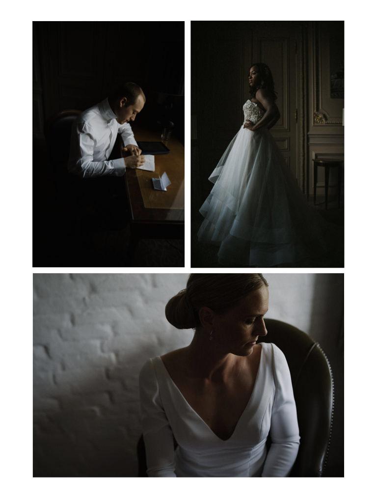 three bridal images taken by wedding videographer Philip White